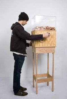 This machine allows anyone to work for minimum wage for as long as they like. Turning the crank on the side releases one penny every 4.97 seconds, for a total of $7.25 per hour. This corresponds to minimum wage for a person in New York. This piece is brilliant on multiple levels, particularly as social commentary. Without a doubt, most people who started operating the machine for fun would quickly grow disheartened and stop when realizing just how little they're earning by turning this ...