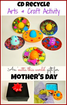 Upcycle craft/ Mother's day craft with cds from www.blogmemom.com #mthersdaycrafts