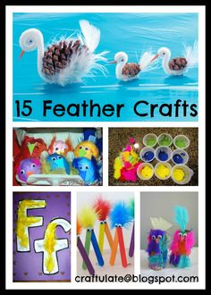 15 Fun Feather Crafts     Wire Sculpture from Artful Parent               Easter Egg Chicks from Red Ted Art            F is for Feather from Totally Tots               Feather Place Mat from Parenting               Feather Ornaments from The Impatient Crafter             Painting with Feathers from Mess for Less         Craft Stick Critters from