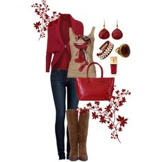 Milk chocolate cord skirt and red/cranberry  shirt/blouse something to go under my tan Platos Closet sweater.