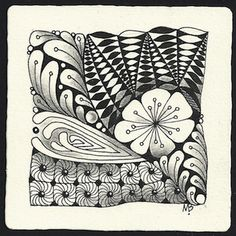 Enthusiastic Artist: YOGA example - a new tangle! By Margaret Bremmer, Certified Zentangle Teacher.  Tile Tangles: Fleurette, Mooka, Phuds, Spinning (with Black Pearlz), Yoga