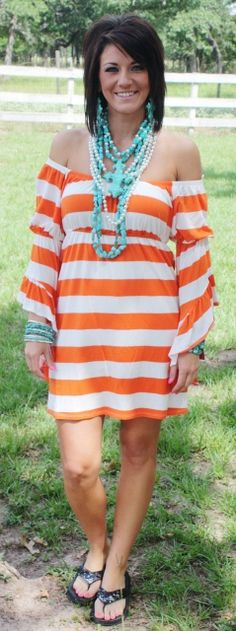 Spring Fling Tangerine Orange and White VAVA Dress www.gugonline.com $89.95