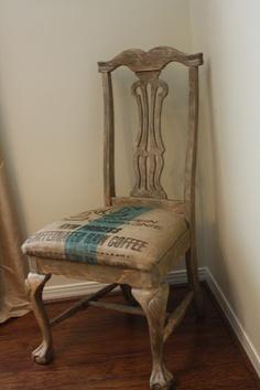 chair with burlap cushion
