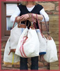 linen tote, craft, antique linens, diy linen bag