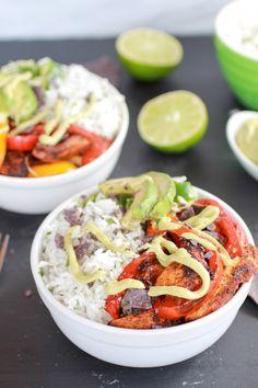 Fiesta Chicken + Cilantro Lime Rice Fajita Bowl with Avocado Chipotle Crema (and Blue Corn Tortilla Chips)