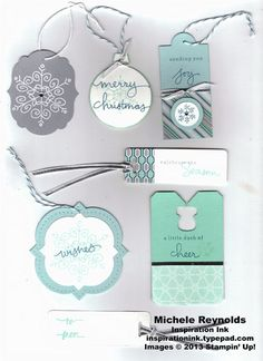 Handmade Christmas gift tags using Stampin' Up! Endless Wishes Photopolymer Set.