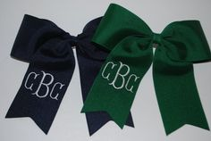 Embroidered Monogram Hair Bow Ponytail