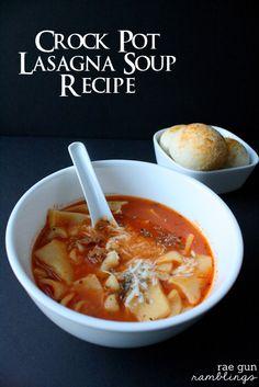 Super easy Lasagna Soup recipe for the crock pot