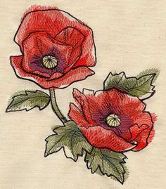 Embroidery Designs at Urban Threads - Painted Poppies