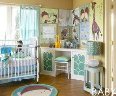 This #nursery mixes prints and #turquoise shades for a chic, creative baby room!