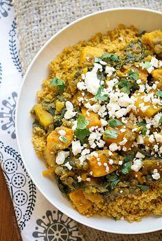 Lentil Tagine with squash, lemon etc. replace couscous with quinoa or saffron jasmine rice