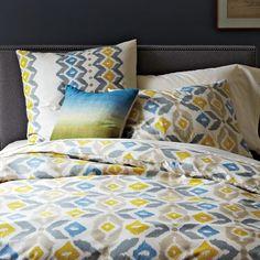 Organic Winter Ikat Duvet Cover | west elm $109 westelm, pattern, guest bedrooms, duvet covers, master bedrooms, organ winter, guest rooms, ikat duvet, west elm