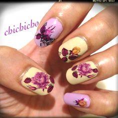 Plain Purple Roses Water Decal   chichicho~ nail art addicts