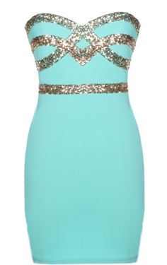 Mint Diamond Dress: Features an ultra feminine sweetheart neckline, glittering gold crossover design to the bodice, figure-flattering sequin waistband, and a sexy body-conscious silhouette to finish.
