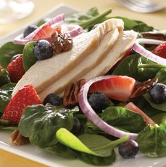 Berry Salad with Cinnamon Vinaigrette is equally good with or without the chicken. Drizzle the dressing over the salad just before you're ready to serve it.