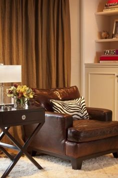 interior design, living rooms, family rooms, chair design, animal prints, live room, leather chairs, zebra print, leather couches