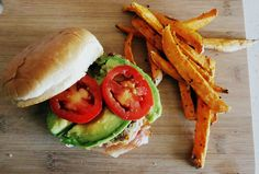 Avocado and Prosciutto Turkey Burgers with Baked Sweet Potato Fries