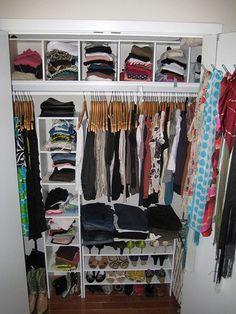 Nice, realistic closet idea for a college apartment closet idea, closet organization, hous, small spaces, colleg, organized closets, organization ideas, bedroom, small closets
