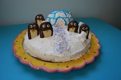 "Penguin Party Birthday Cake and Jello Jiggler ""Ice"" Blocks"