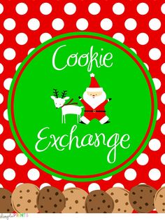 FREE printable set: Cookie Exchange Package by DimplePrints...GIGANTIC set {91 pages!!} of printables for a Christmas milk & cookies party or cookie exchange, including banners, cupcake wraps, French fry boxes, party hats, food tent cards, invitation AND printable papers for any Christmas event!
