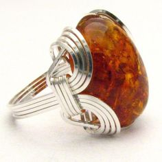 Handmade Sterling Silver Wire Wrap Amber Ring by JandSGems on Etsy, $87.76