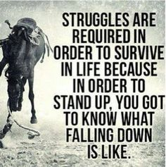 Struggles are required in order to survive in life because in order to stand up, you got to know what falling down is like.