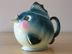 Adorably happy fish teapot marked Norcrest, Japan