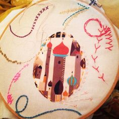 "Working on some ""just wing it"" embroidery for class.  Oh Sew Much!"