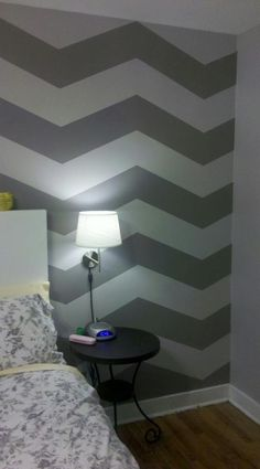 DIY Chevron Stripes; love the understated gray!