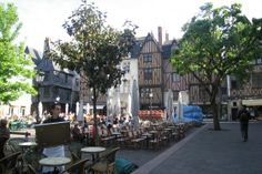 Located in Tours, France, La Place Plumereau is busy square filled with pubs and restaurants.