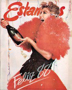 Con champaña y un voluminoso vestido, Maite Delgado anunciaba la llegada de 1988