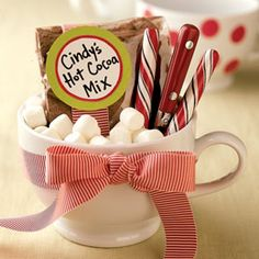 2 c milk powder, 3/4 c sugar, 1/2 c cocoa, 1/2 non dairy creamer, 1/8 tsp salt.  Mix.  To make: 3 - 4 tabs in mug, top with boiling water and stir. If you put it in a mug like this it is such a cute present. share with all. #lulusholiday