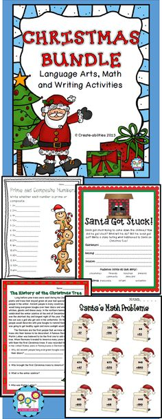 This product is a BUNDLED SET of my Christmas Mega Pack and my Christmas Holiday Pack. All of these activities are tied to the common core. You will received 104 pages of Christmas and holiday activities that cover reading, writing (nonfiction and creative writing), and math activities.   #Christmas #commoncore #math #writing