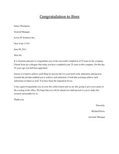 Congratulations Letter to Boss - Job congratulations, formal business letters and greeting messages to boss.