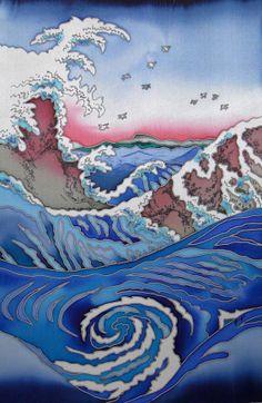 Original Painting on Silk EDDY Cold batik. Free by SilkNPaper, $70.00