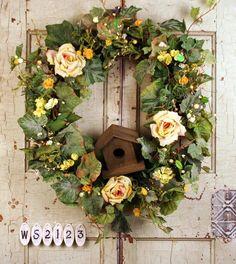 Home Tweet Home Birdhouse Silk Front Door Wreath