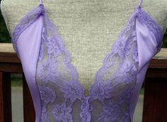 Vintage Lacy Nightgown Lavender Val Mode Long by retroglamvintage, $23.00