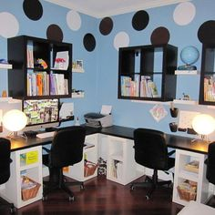Homeschool Rooms Design, good idea for computer lab setup, perfect for the Classroom/Study Computer room for the kids staying with us. modern house design, homework station, interior design, modern interior, design interiors, homeschool room, modern houses, home offices, modern homes