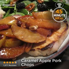 "Caramel Apple Pork Chops | ""So easy, so delicious. Quick autumn/winter meal when I'm out of ideas. Have made with chops or a tenderloin underneath the pile of potatoes, onions, and apples."""