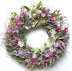 Pretty In Pink Dried Wreath With Silk Flowers