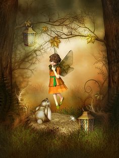 A sweet fairy clad in autumn colors lands beside a fuzzy long-eared rabbit in this whimsical digital artwork created in DAZ 3D by artist Jayne Wilson.