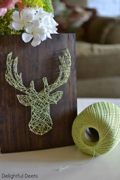 Delightful Deets: DIY String Art: Deer Head (Try metallic thread on a white background)