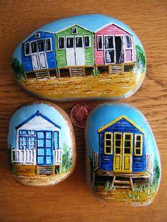 Beach Huts on Stones, Justine (Jake) Pateman - Artist / http:/ www.jakeart1.com