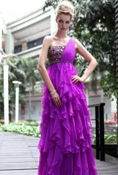 Purple+Embellished+Evening+Dress+with+Ruffles,++Dress,+Prom+Dress++One+Strap++Embellished++Ruffles,+Chic