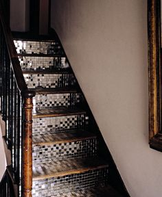 glass mosaic covered #stairs! what a fun way to add some glam to your #home