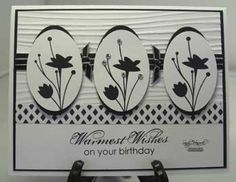 Stampin' Up! ... handmade birthday card ...  black and white matted ovals with repeating images ... cute knots on top ribbon of double ribbon wrap ... great card!
