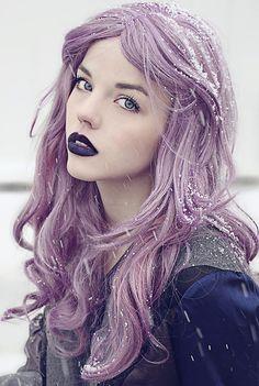 #lavander #purple #hair #darklips #winterfairy #fairskin #makeup #contrast