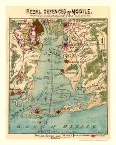 """Antique Civil War Map April 3, 1865, """"Rebel Defences of Mobile AL"""" of Spanish Fort when attacked by Union Forces.  Hand written notes."""