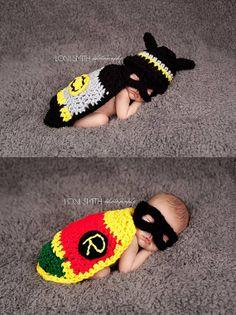 Dynamic Duo Batman & Robin Hat, Mask Cape Twin Set - Baby Newborn Beanie Cap 0-3 months Halloween Thanksgiving Winter Outfit via Etsy crochet babi, twin boy, baby outfits, capes, babi newborn, masks, robins, winter outfits, beani cap