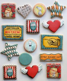 vintage circus cookies! @Jessi Parrett King Coulter It's still a good theme
